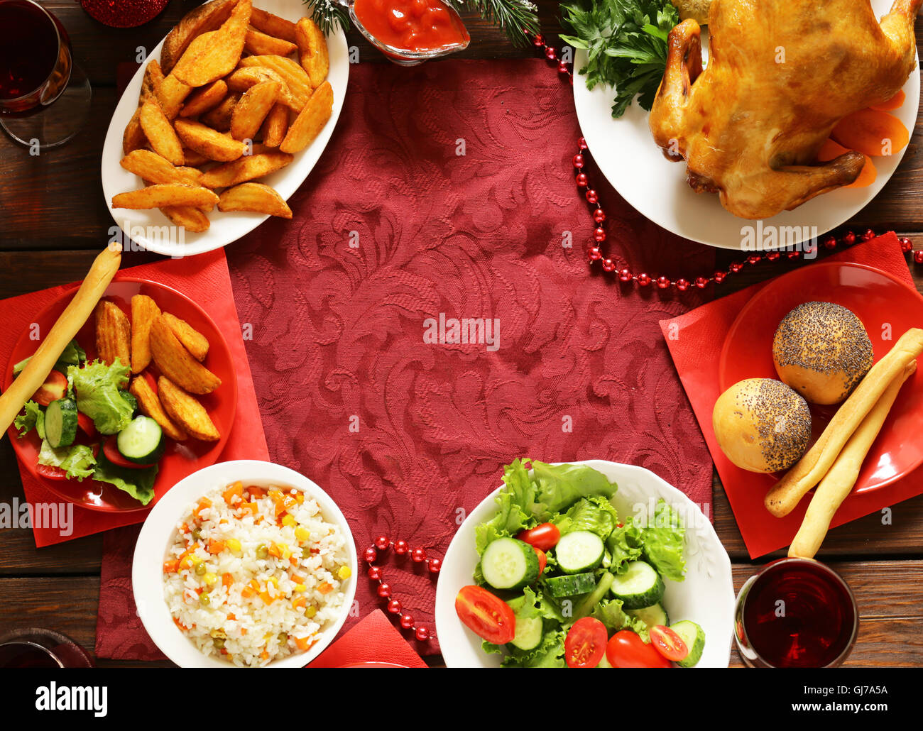 traditional food for christmas dinner festive table setting and decorations