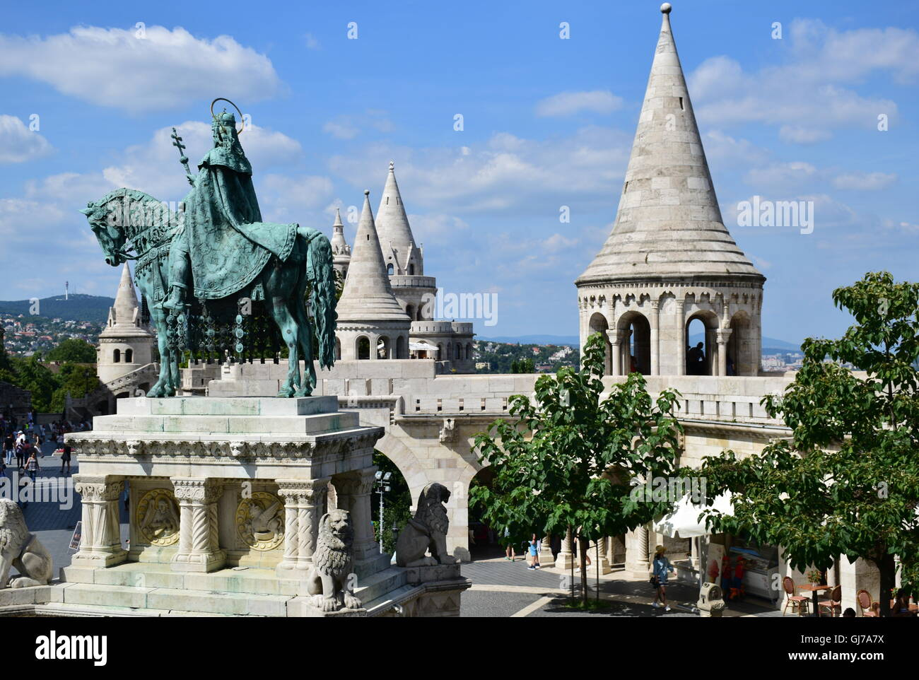 Fisherman's Bastion and statue of Saint Stephen in Budapest Hungary - Stock Image