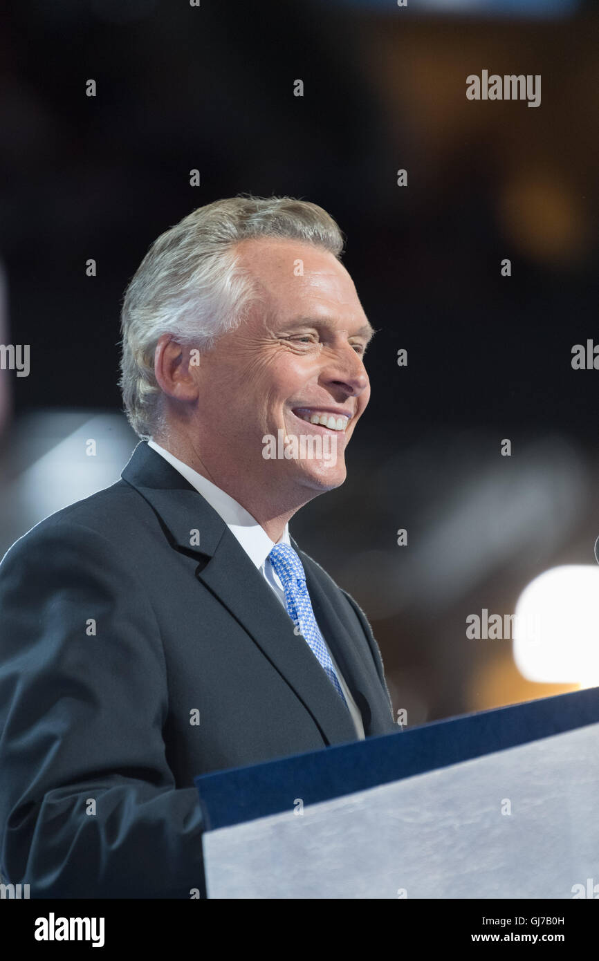 Virginia Governor Terry McAuliffe addresses delegates on the 2nd day of the Democratic National Convention at the - Stock Image