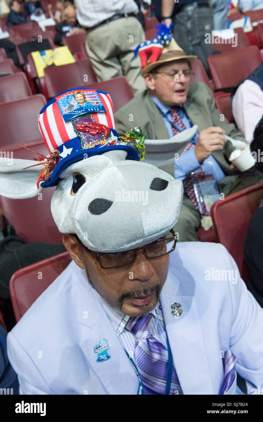 A Democratic delegate wears a donkey costume before the start of the 2nd day of the Democratic National Convention - Stock Image