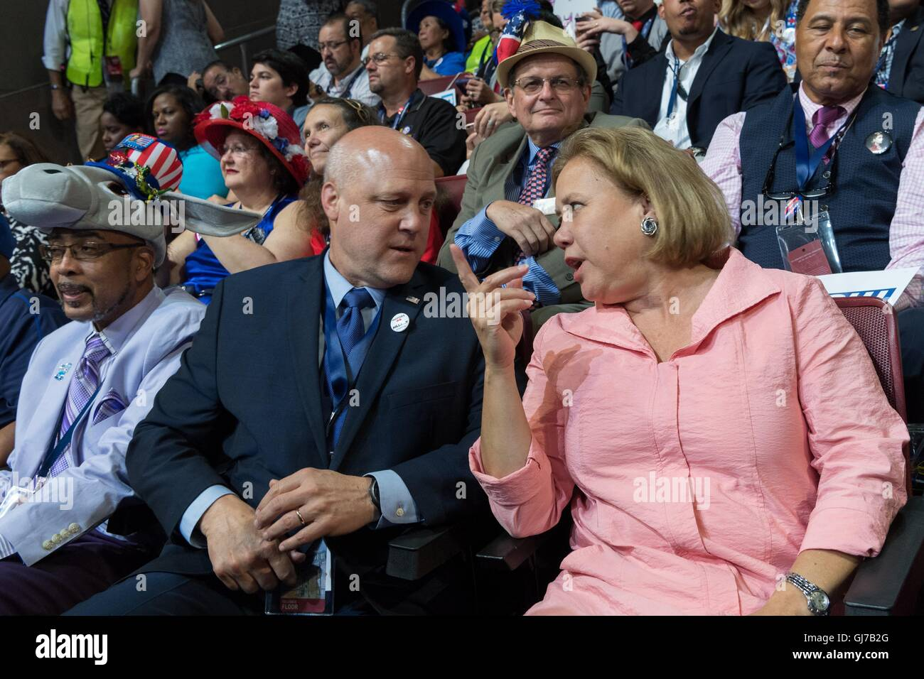 Senator Mary Landrieu of Louisiana sits with her brother New Orleans Mayor Mitch Landrieu during the 2nd day of Stock Photo