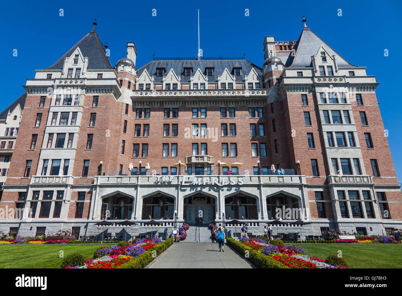 Outside view of the Empress Hotel in Victoria, after a major facelift to remove all traces of Ivy from the walls. Stock Photo