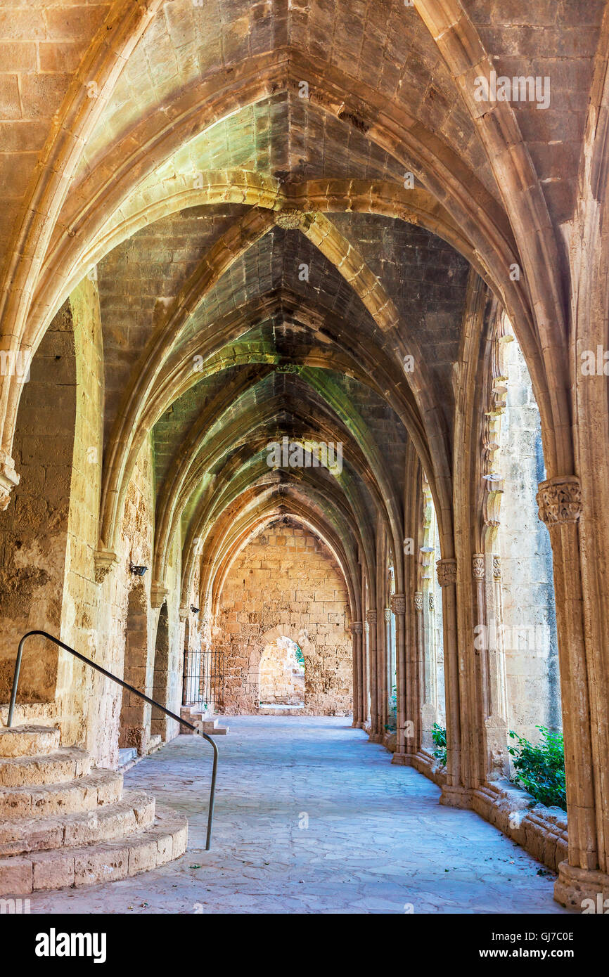 Gothic arches at the historic Bellapais Abbey, North Cyprus. - Stock Image