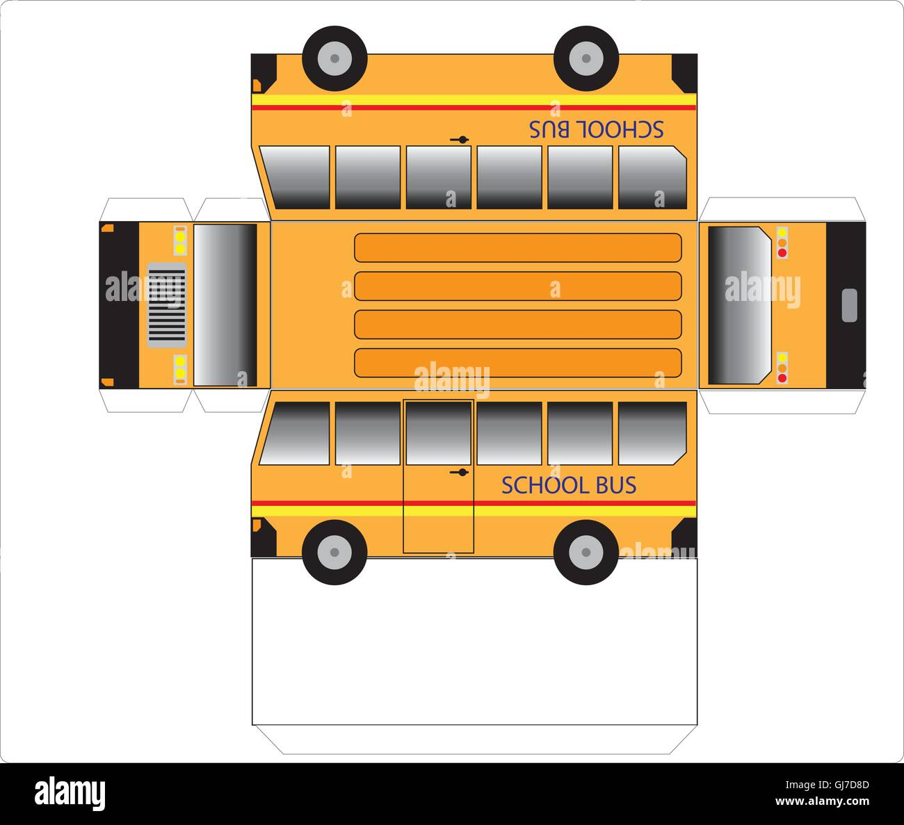 Simple School bus outline, cut out and glue into a 3D ...