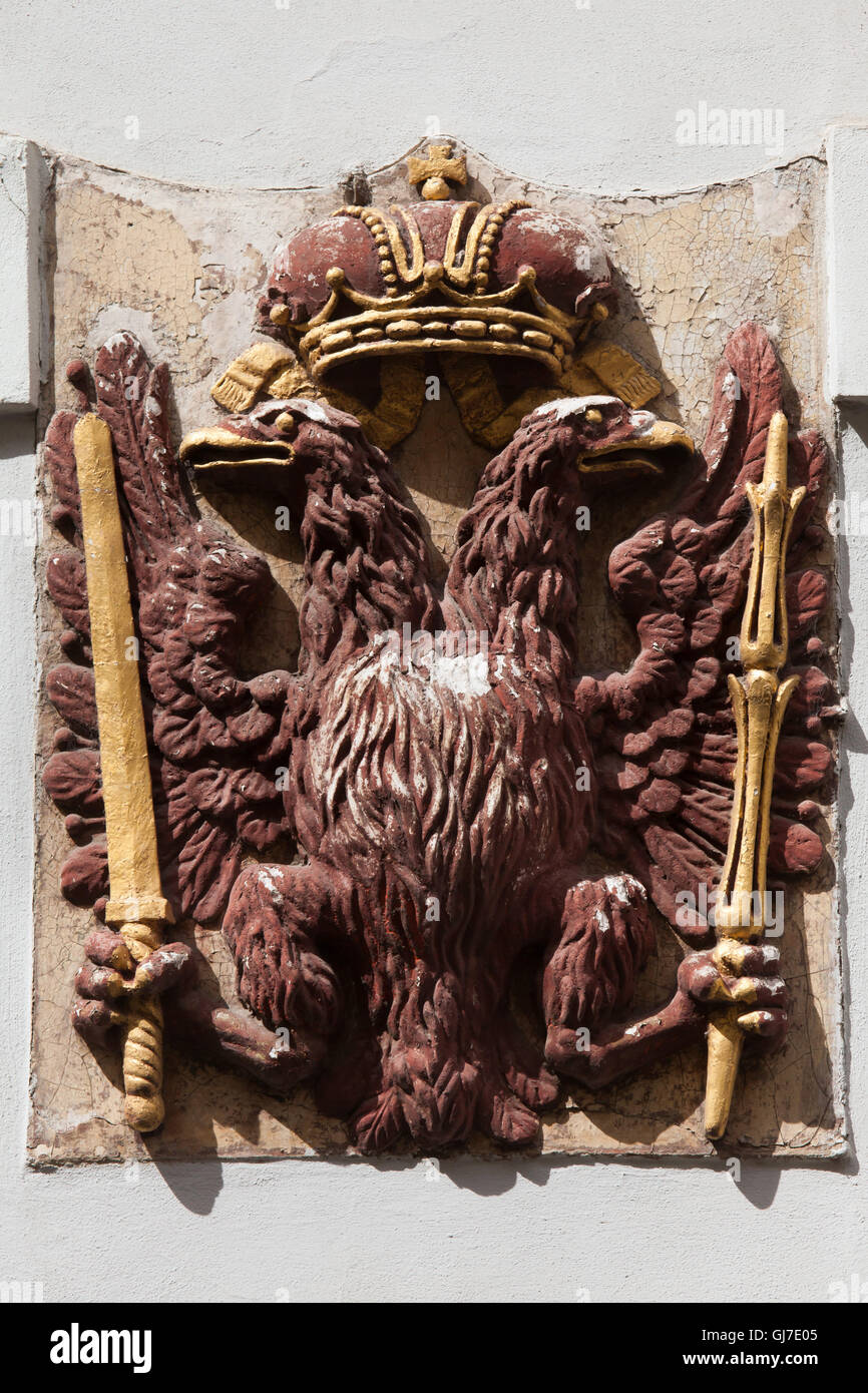 Habsburg double-headed eagle depicted on the House at the Red Eagle in Celetna Street in the Old Town in Prague, - Stock Image