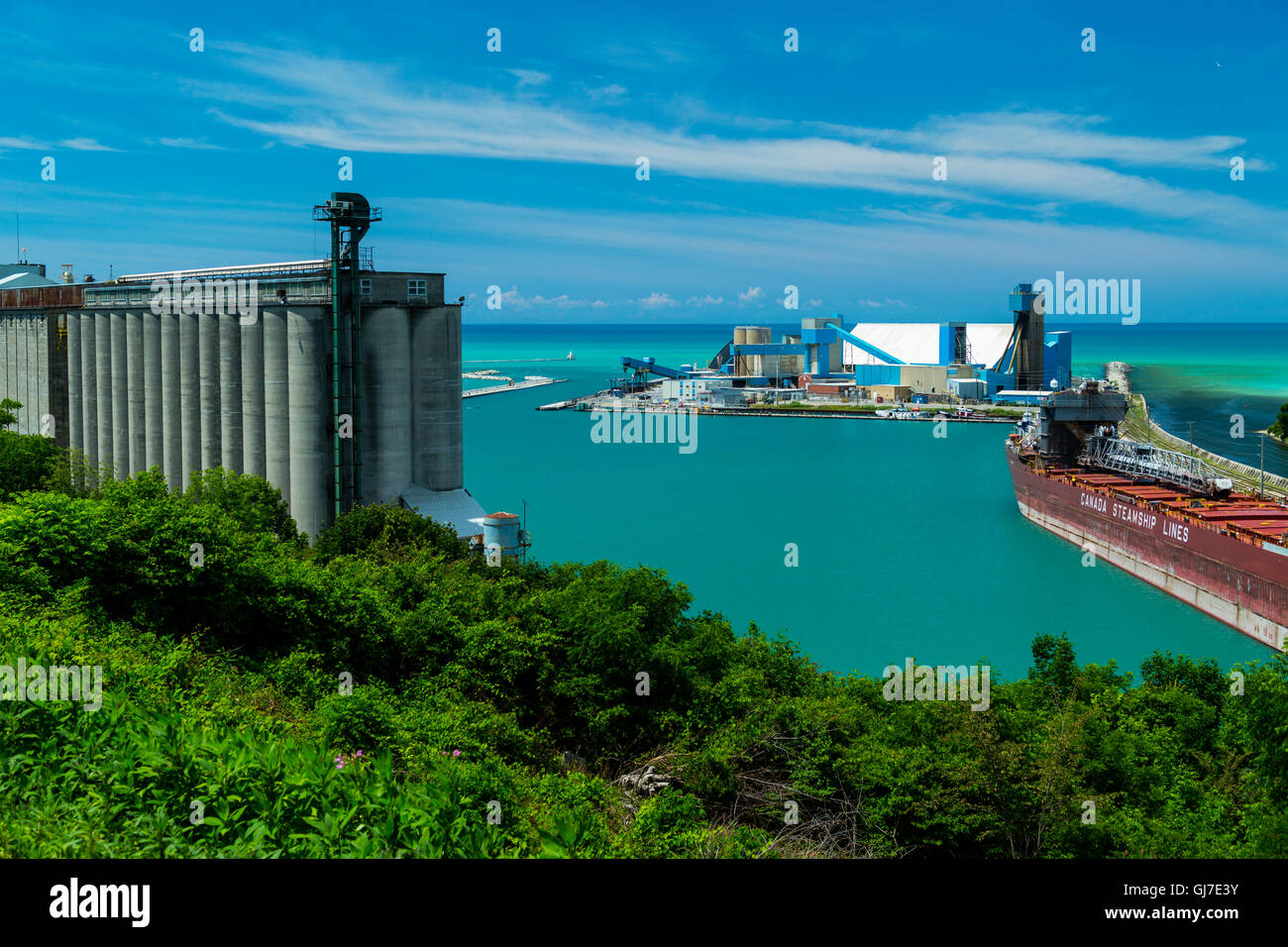 Salt plant and Frieght ship on Lake Huron, Goderich, Ontario, Canada - Stock Image