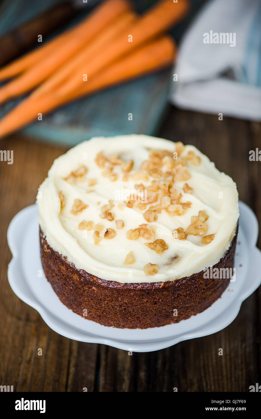 homemade fresh carrot cake with icing decorations Stock Photo