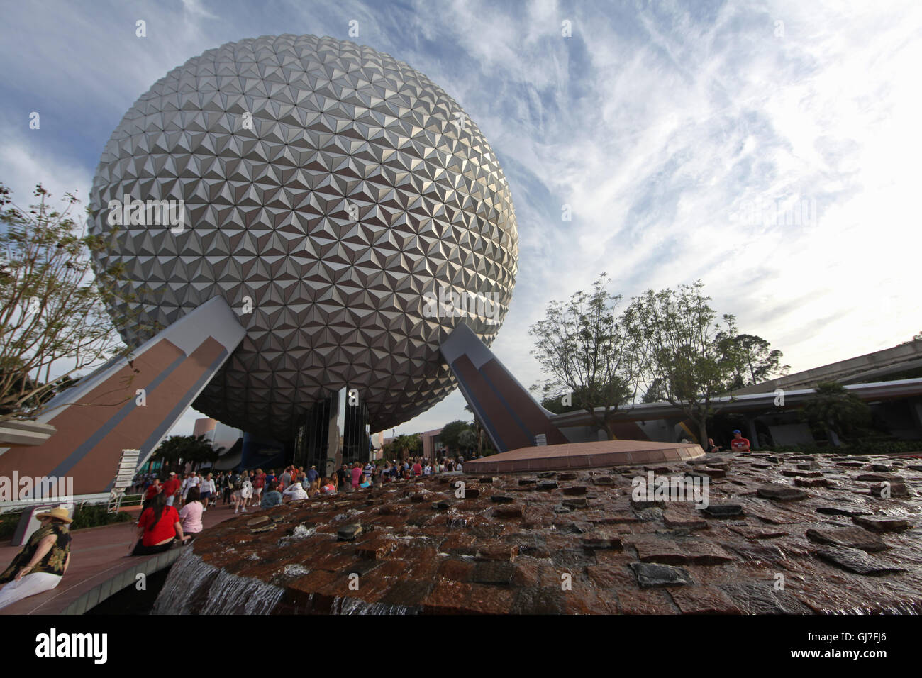 Orlando, Florida, USA. April 28th, 2010. Spaceship Earth with water feature in front at Epcot, Walt Disney World - Stock Image