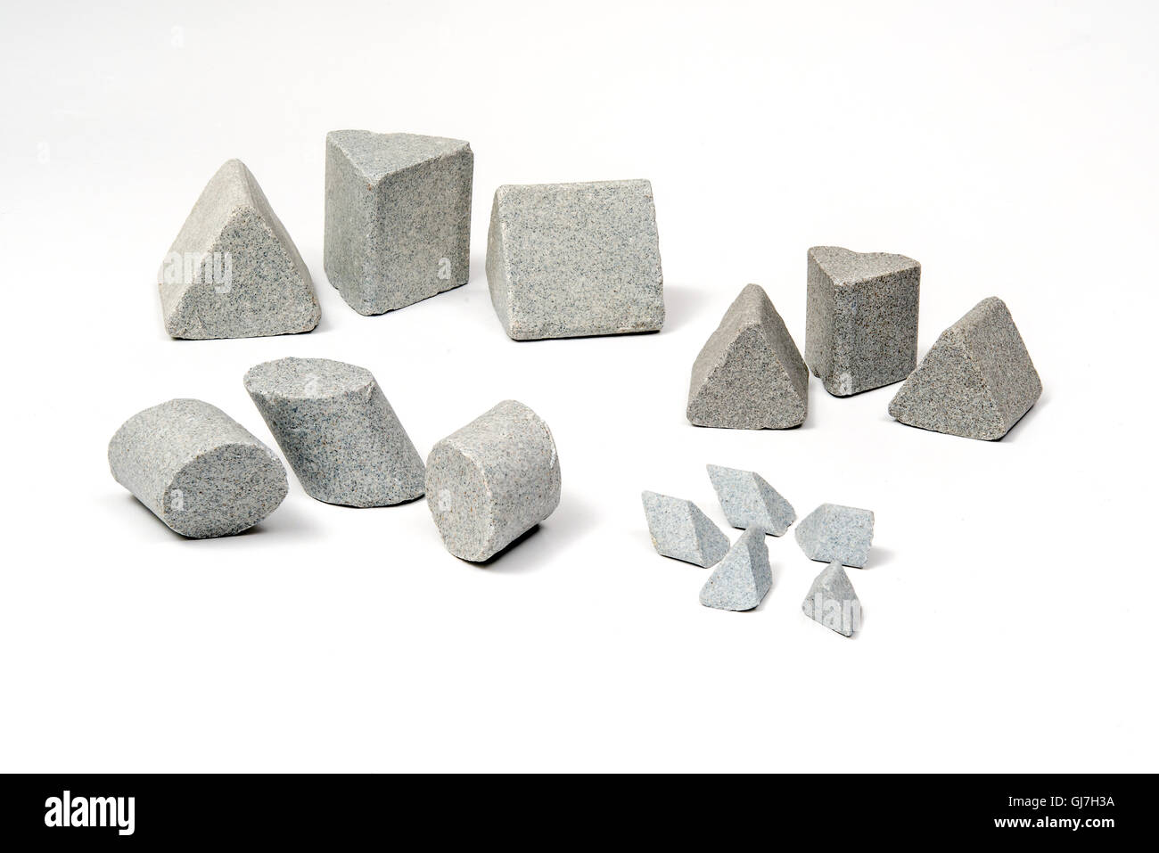 Industrial  sharpening stones sets in different shapes on white background - Stock Image