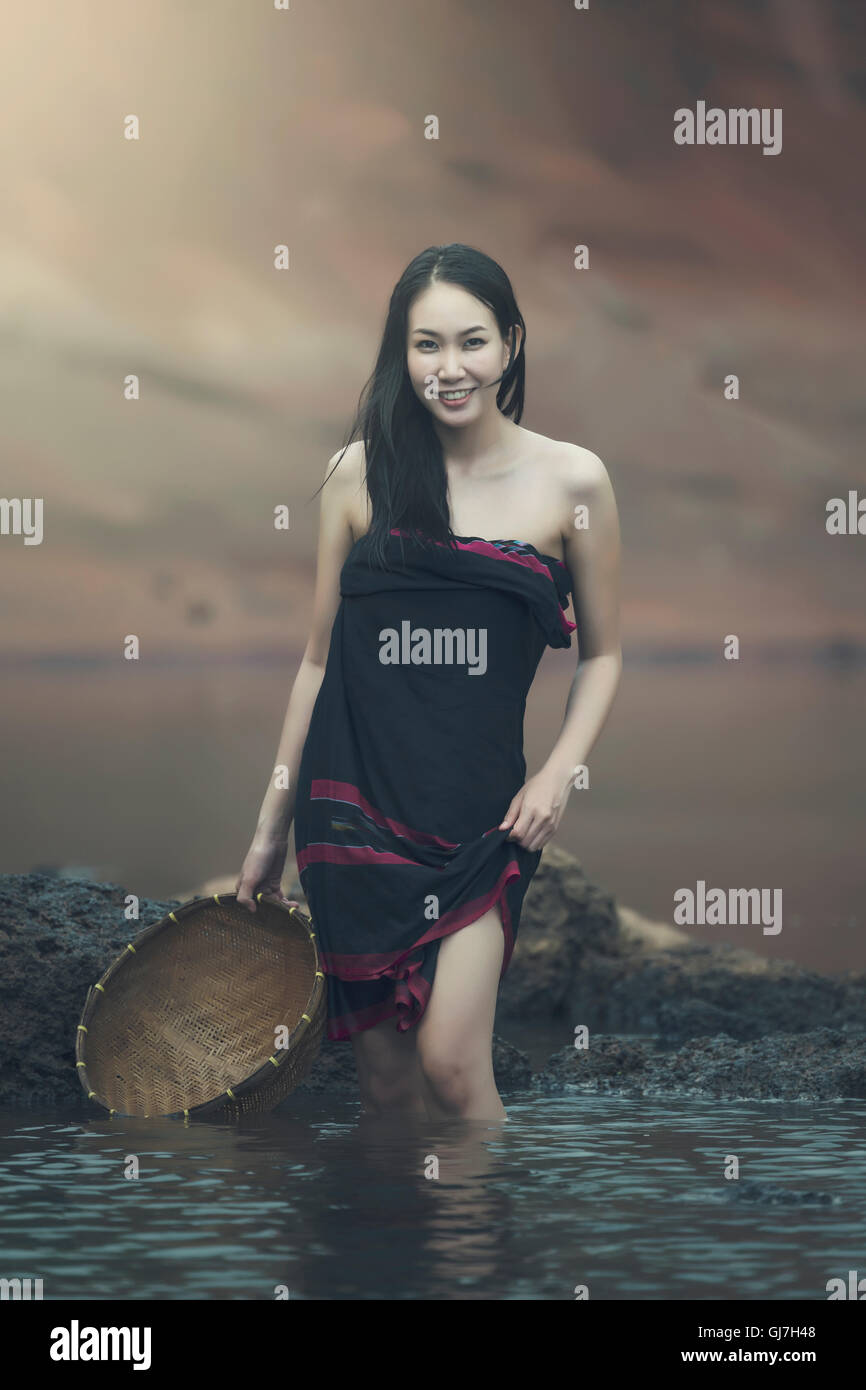 The beauty of Asian women - Stock Image