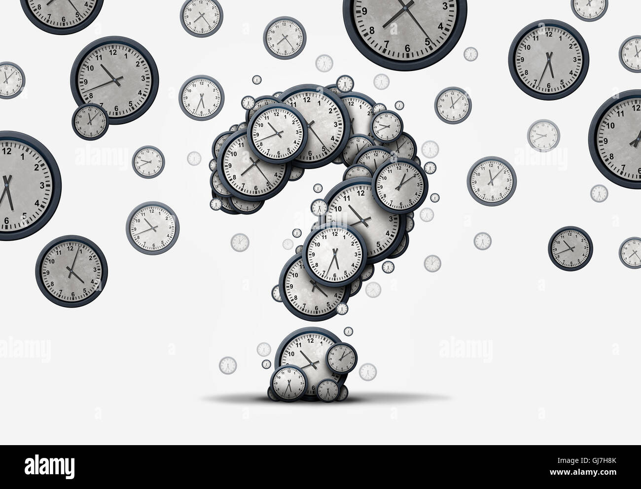 Time questions concept as a group of floating clocks and timepieces shaped as a question mark as a metaphor for - Stock Image