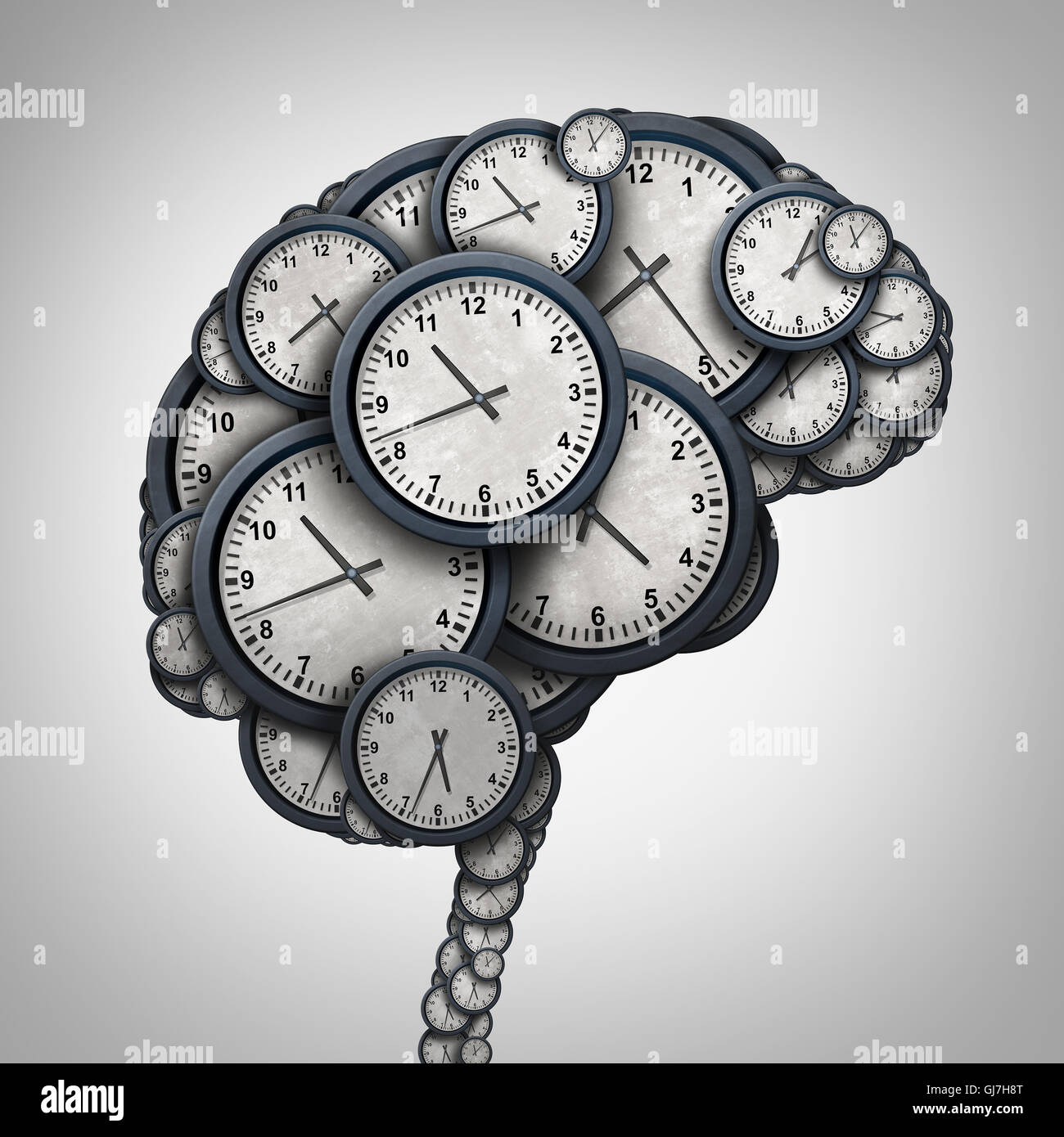 Time brain thinking concept as a group of clock objects shaped as a human mind as a business punctuality and appointment - Stock Image