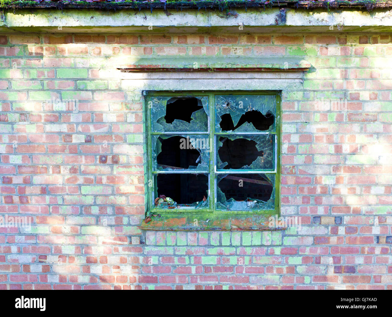 Smashed panes of glass in a window in a dilapidated old house - Stock Image