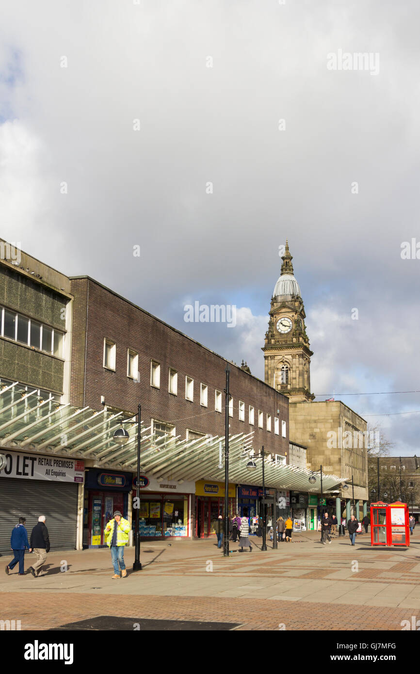 Newport Street in Bolton town centre, prior to the 2016  remodelling of the shop frontages along both sides of the - Stock Image