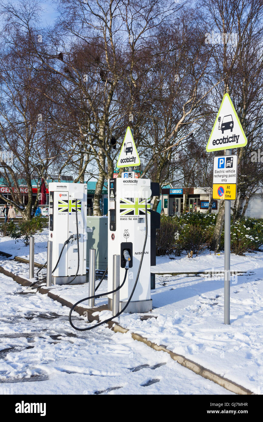 Ecotricity electric vehicle recharging points at Southwaite services on the M6 near Carlisle, Cumbria. Stock Photo