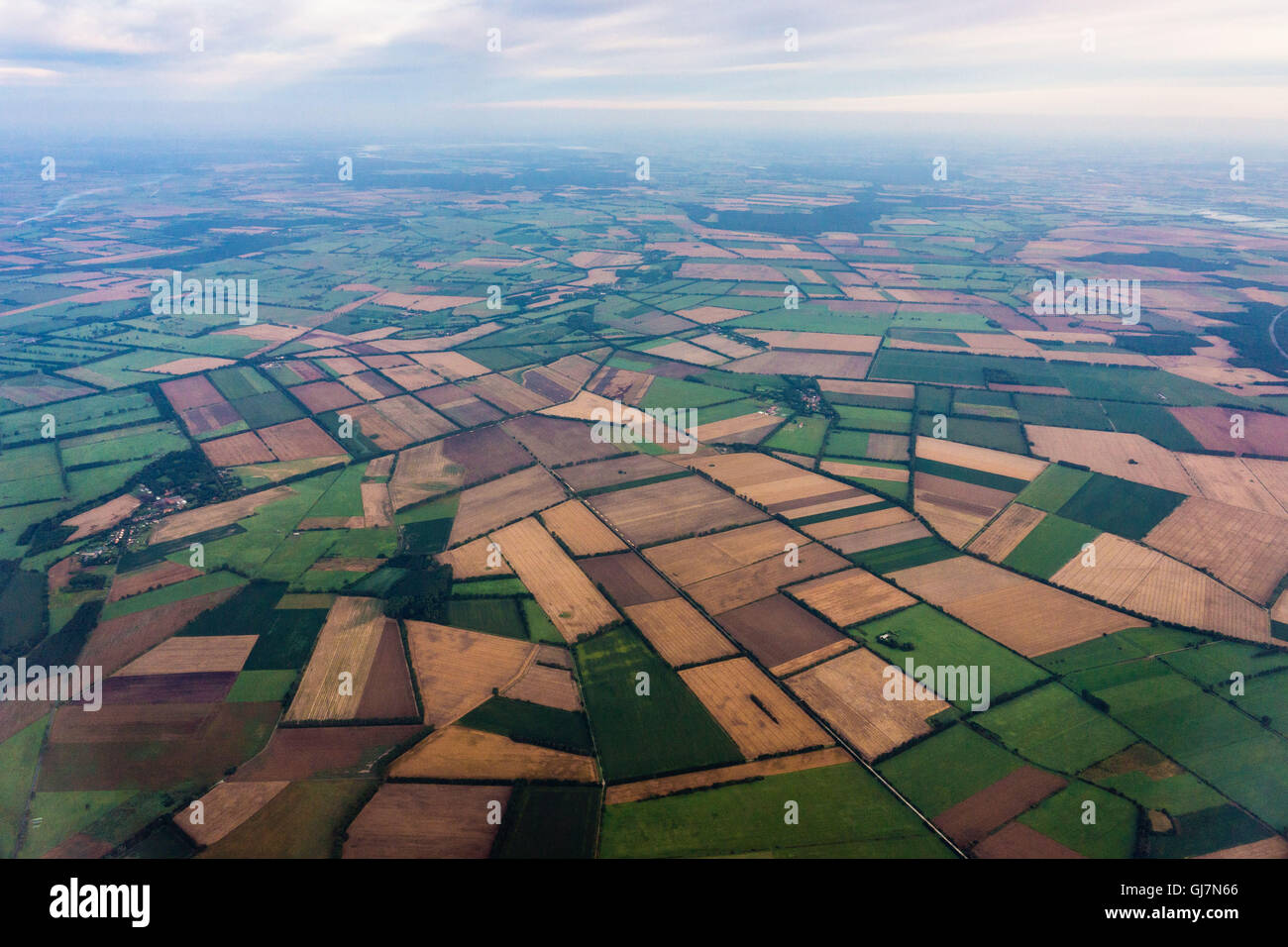 Aerial picture, State of Brandenburg, fields - Stock Image
