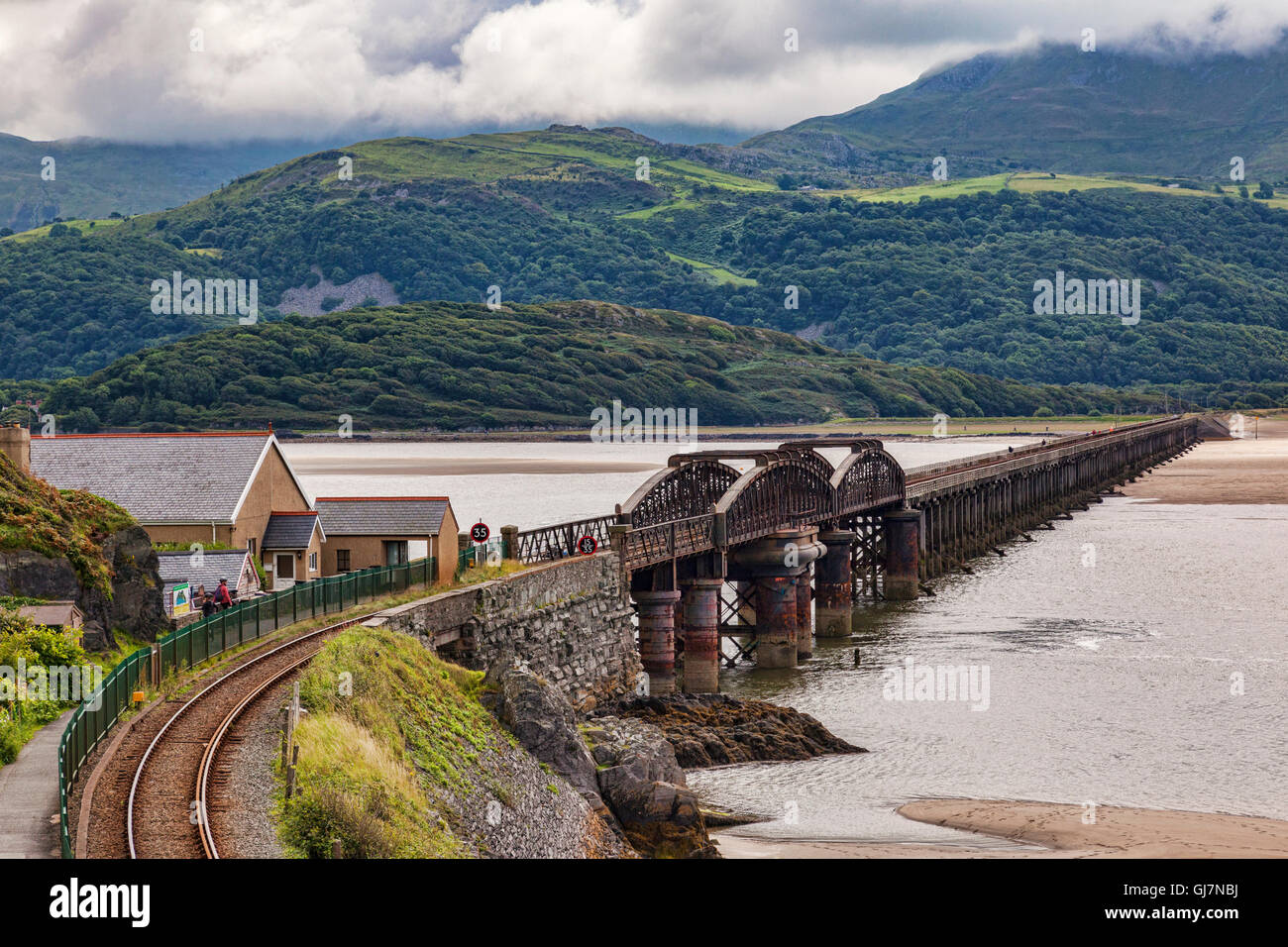 Barmouth Viaduct and the River Mawddach, Gwynedd, Wales, UK - Stock Image