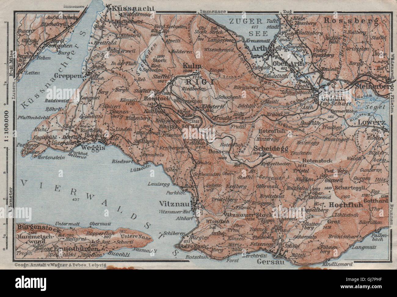 The Rigi Lowerz Arth Gersau Kussnacht Topo Map Switzerland Stock