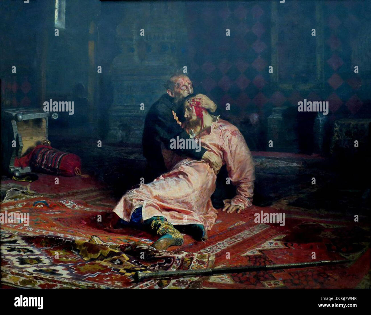 Ivan the Terrible And His Son Ivan, 16 November 1581 by Ilya Repin, 1885.   Ivan IV Vasilyevich 1530 – 1584), commonly - Stock Image
