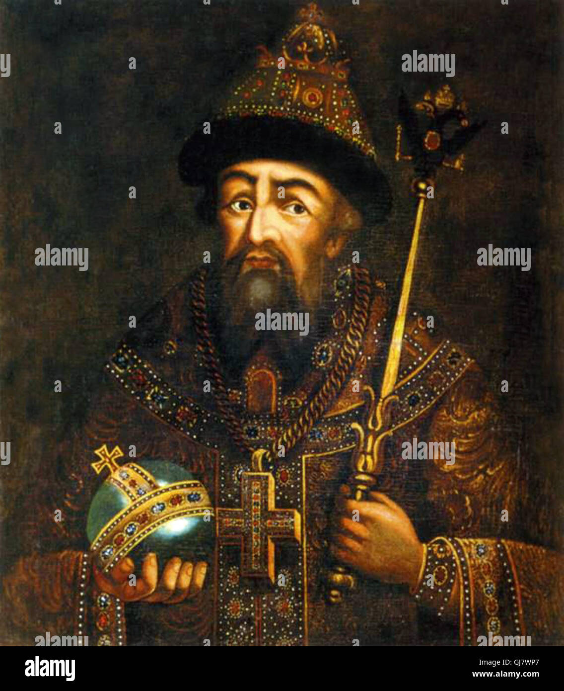 18th century depiction of Ivan the Terrible by Anonim. Ivan IV Vasilyevich 1530 – 1584), commonly known as Ivan - Stock Image