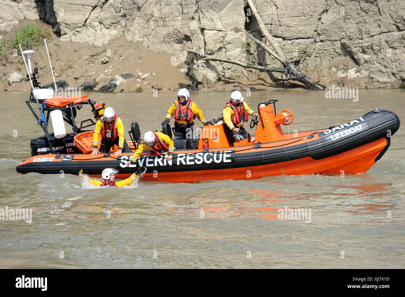 Severn Area Rescue Association SARA Lifeboat exercise on the River Wye in Chepstow Wales UK - Stock Image