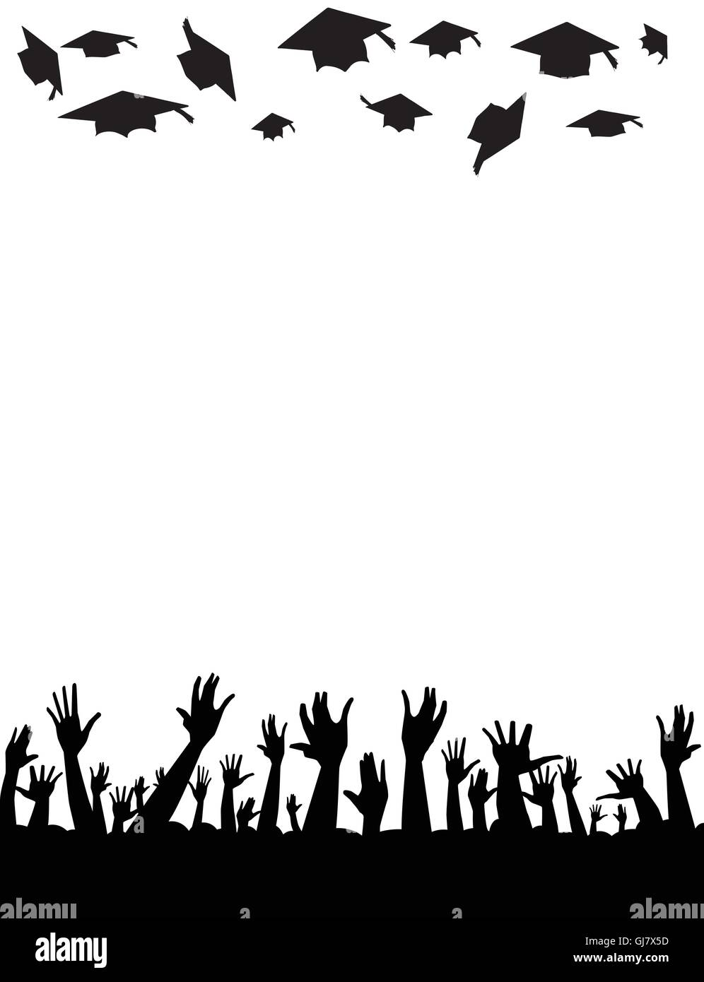 Hands raised in the air throwing the cap high - Stock Vector