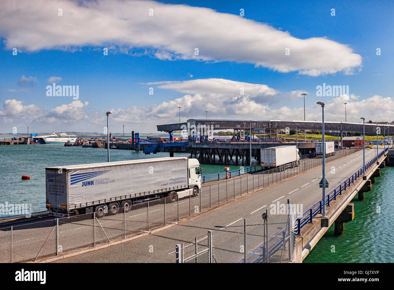 Lorries approaching Holyhead Ferry Terminal, Anglesey, Wales, UK - Stock Image