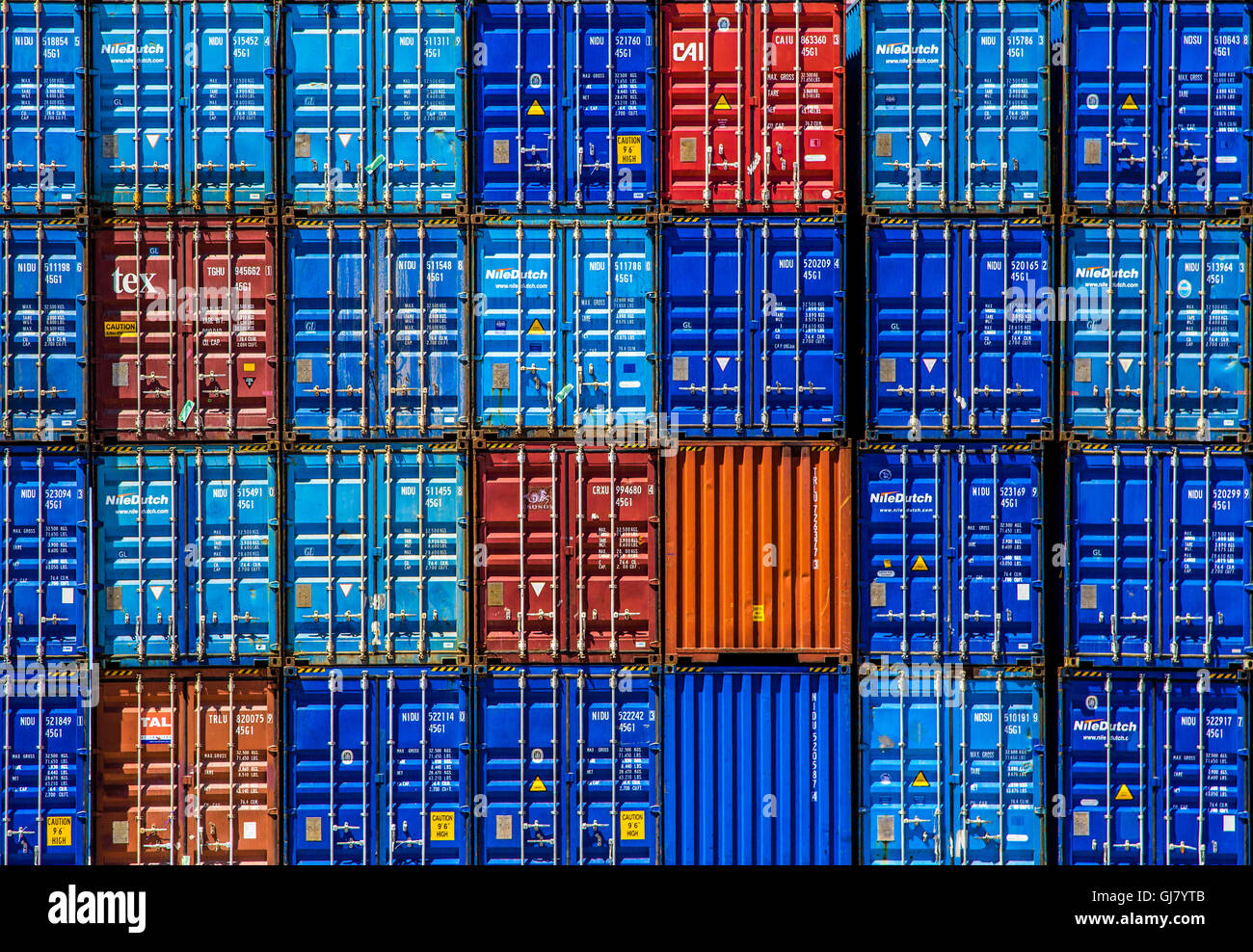 Colourful Stack of Shipping Containers - Stock Image