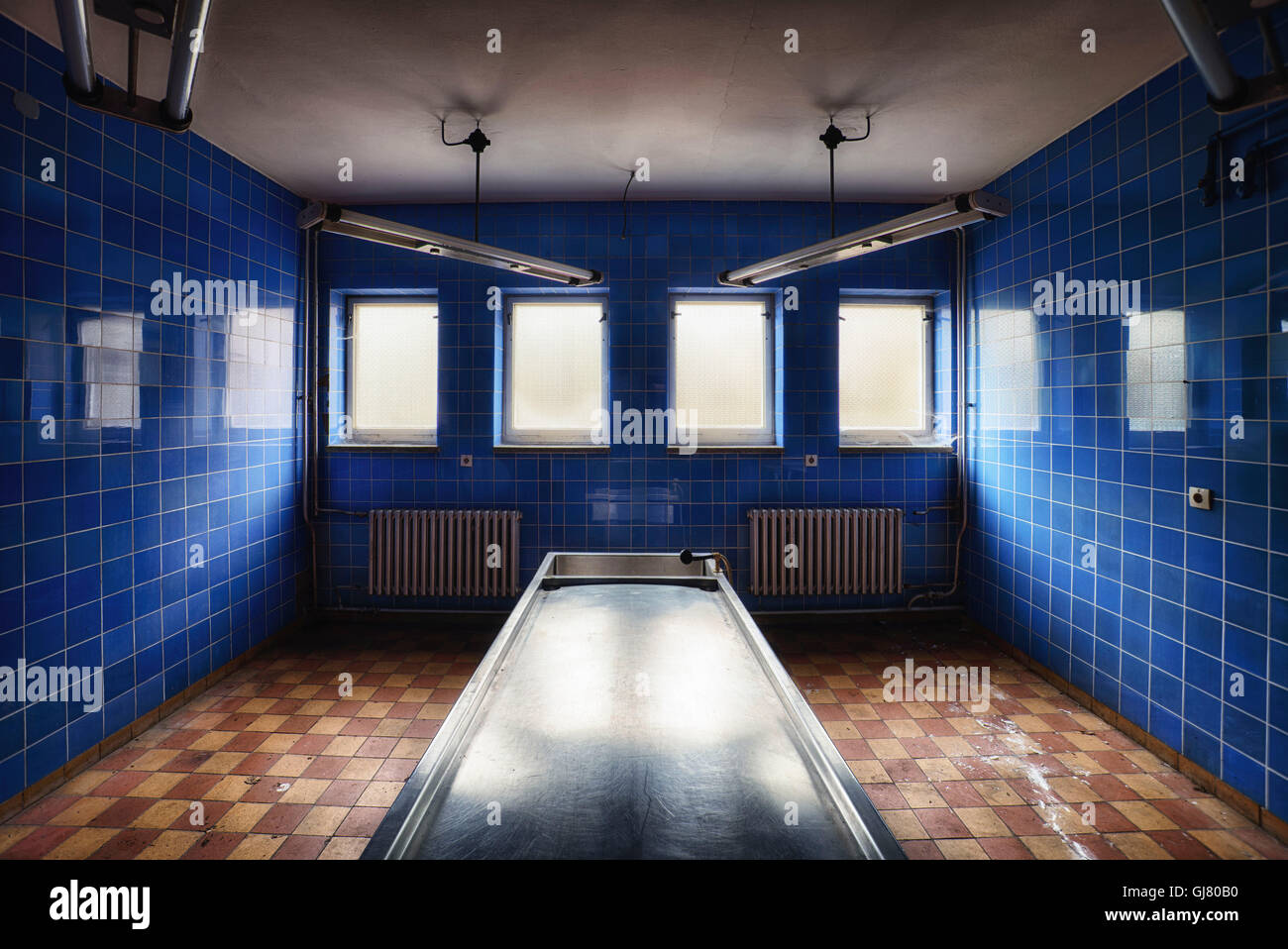 former pathology with blue tiles - Stock Image