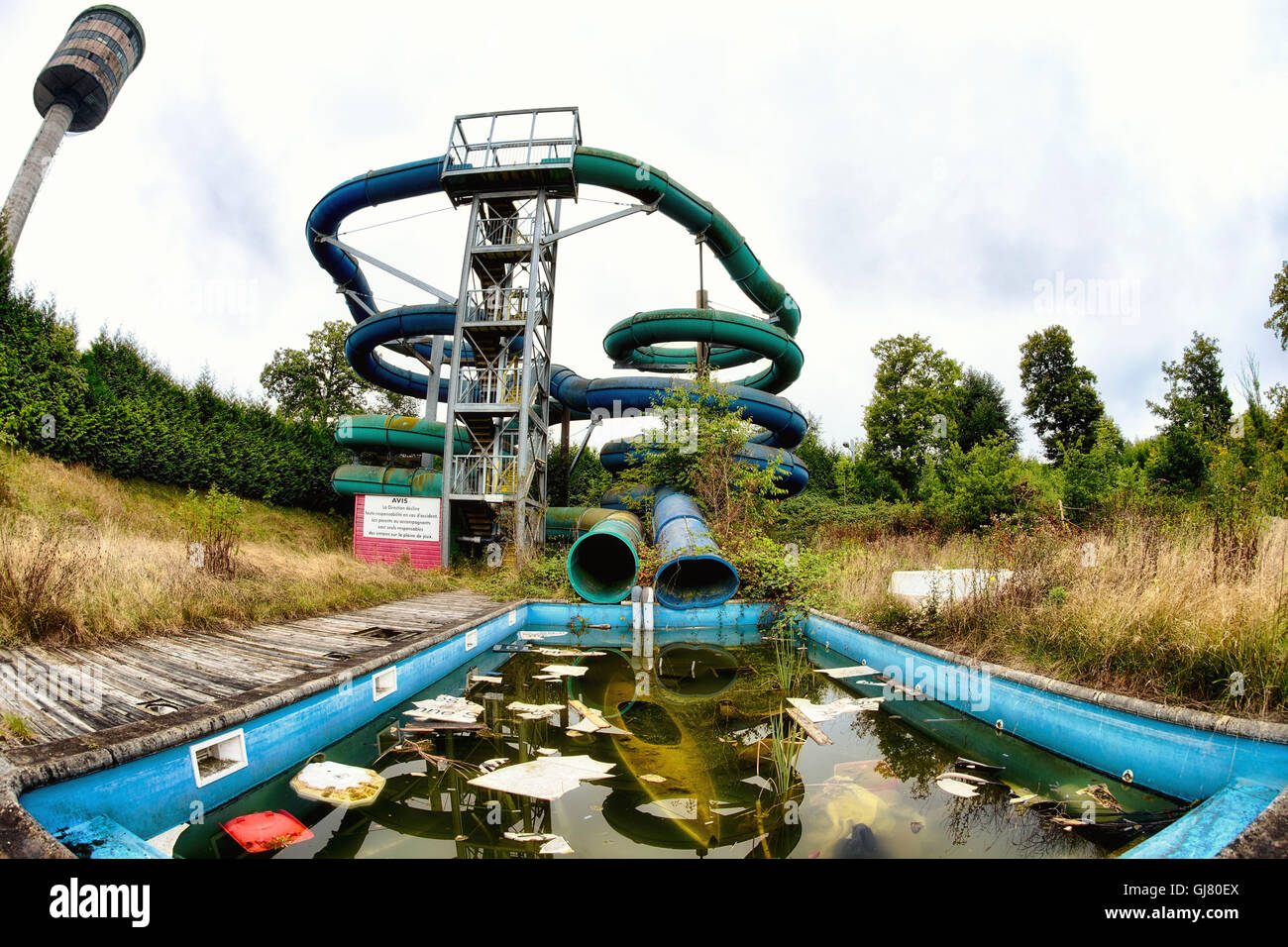 Abandoned Outdoor Swimming Pool With Slides Stock Photo Alamy