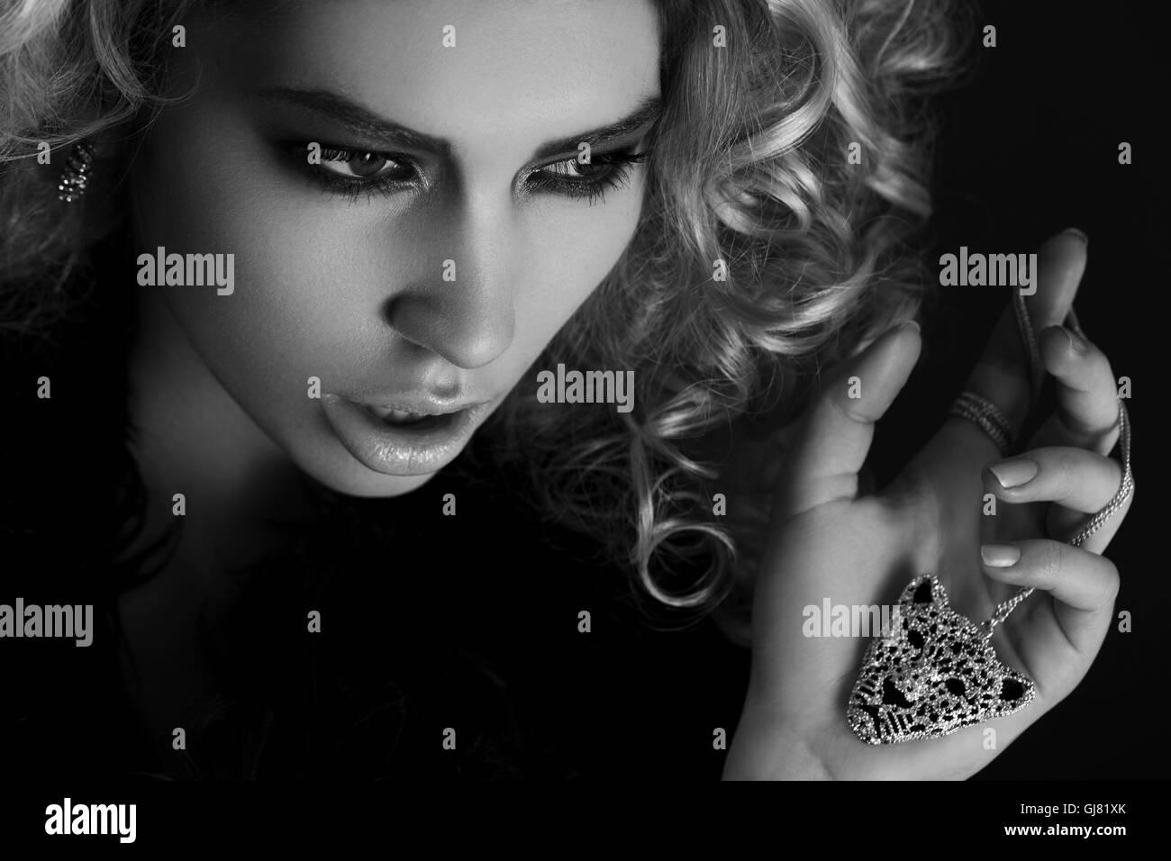 beauty Shot, jewel, leopard, side view - Stock Image