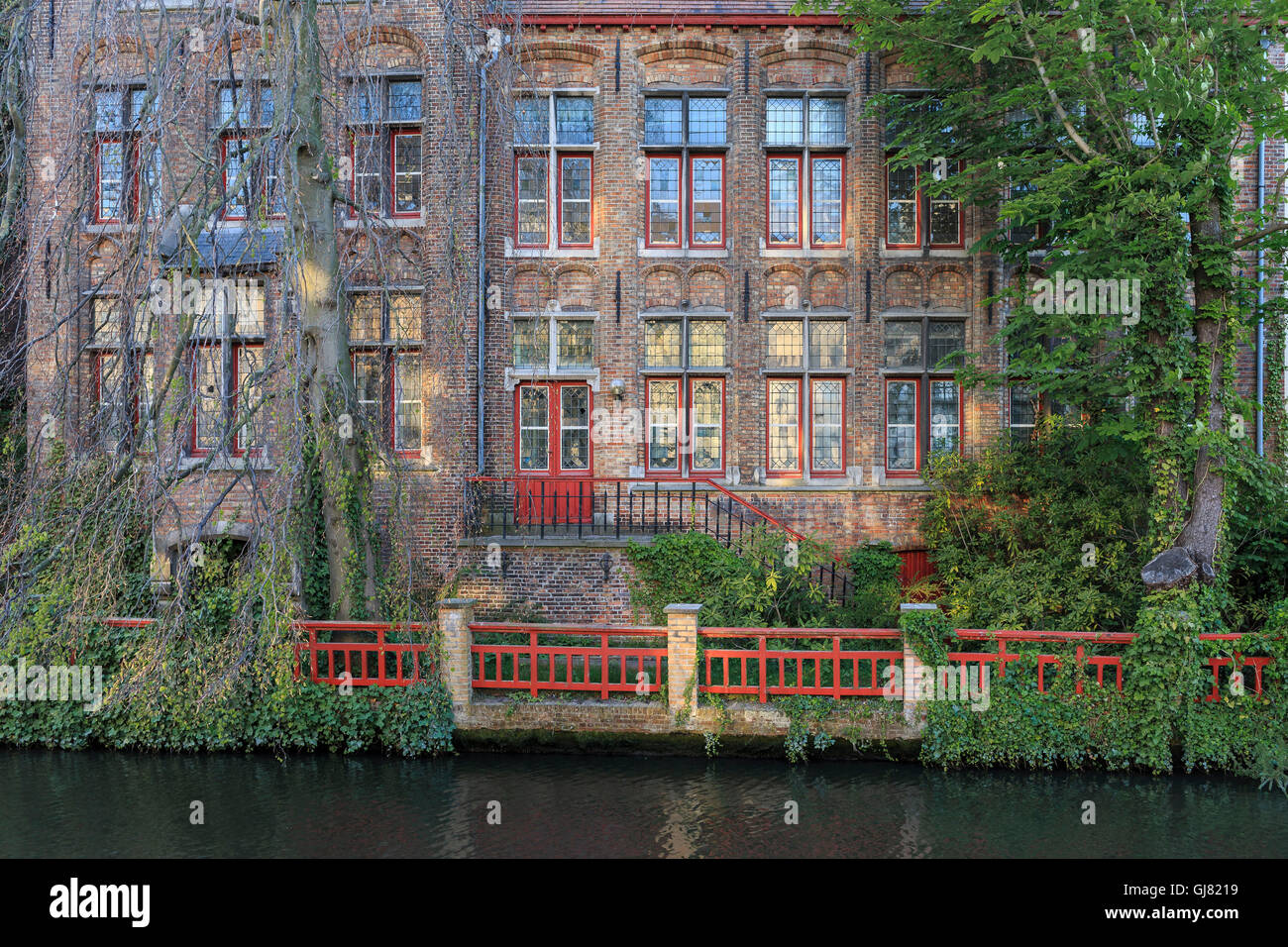 Belgium, West Flanders, Bruges, a mystical and derelicted brick house - Stock Image