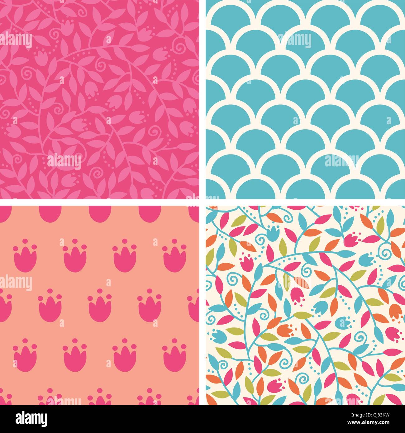 Vector colorful branches set of four matching repeating patterns - Stock Image