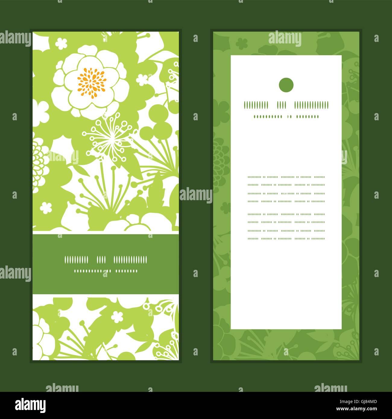 Vector Green And Golden Garden Silhouettes Vertical Frame Pattern