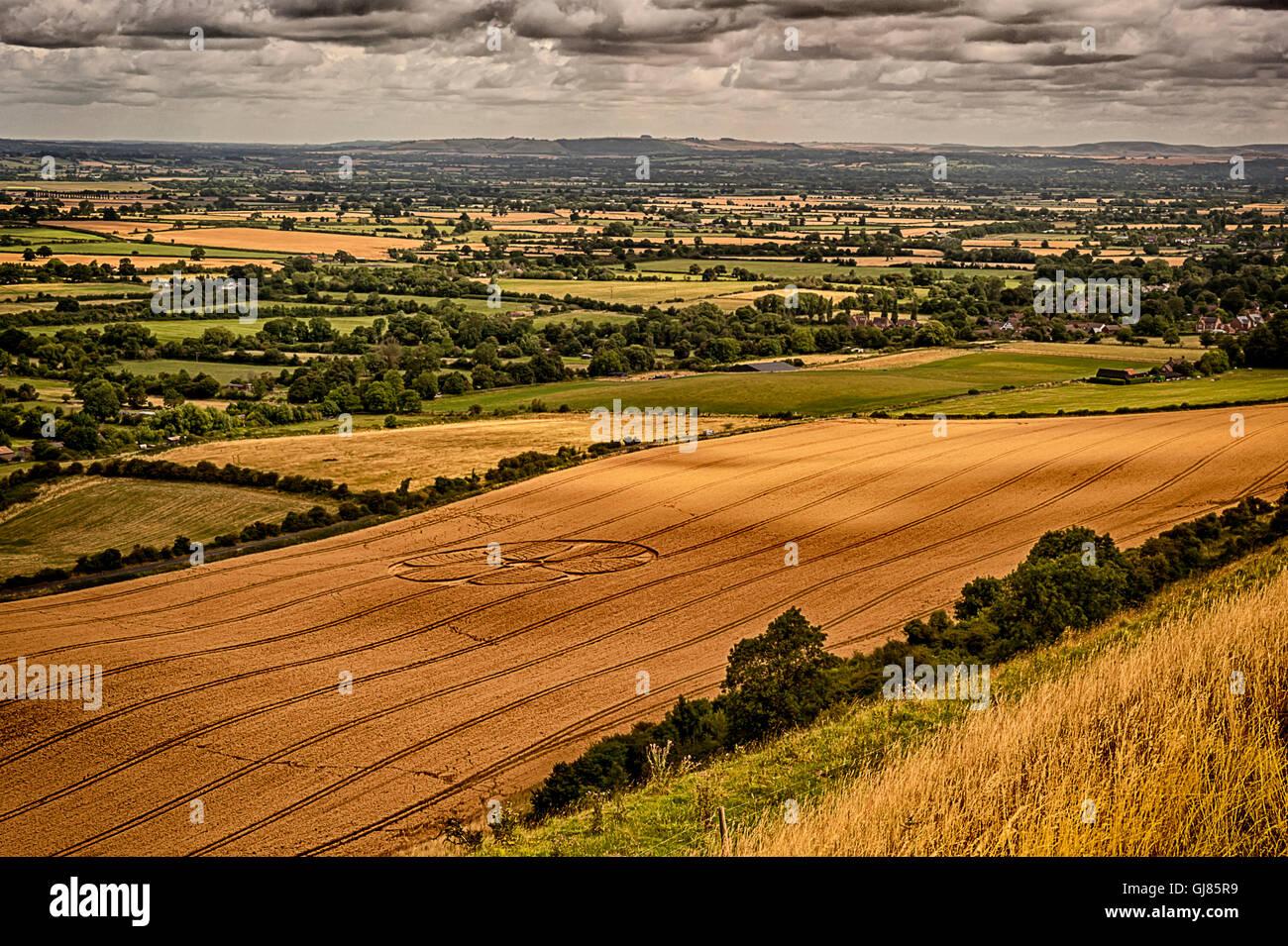 Crop Circles - White Horse - Westbury Stock Photo