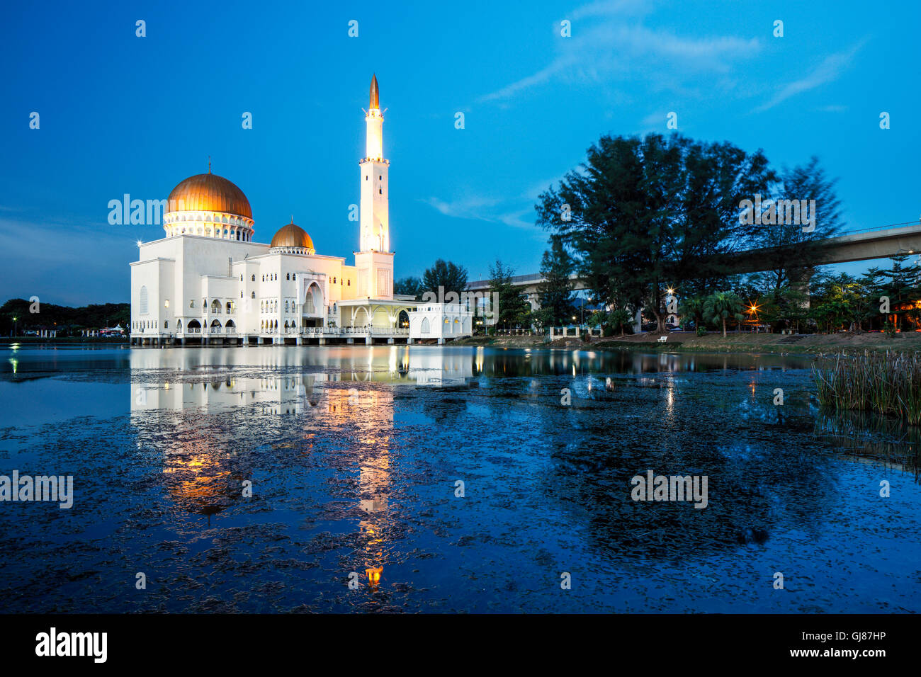 A beautiful evening at the As Salam Mosque in Puchong Perdana, Malaysia. - Stock Image