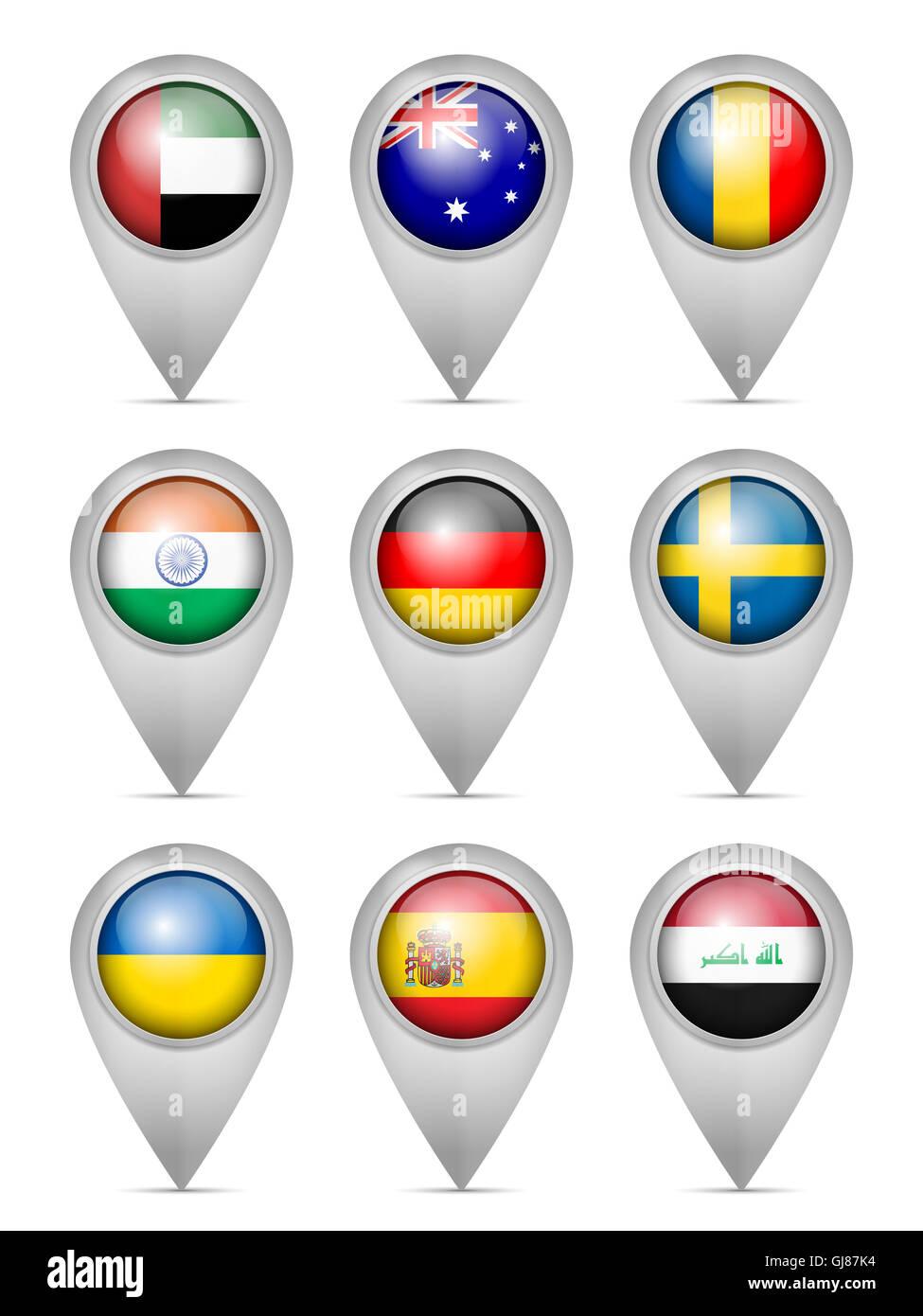 Map marker national flag set on a white background. - Stock Image