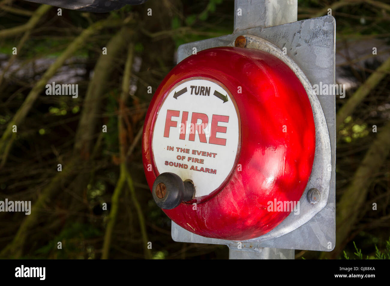 Old Fashioned Fire Alarm Warning Bell - Stock Image