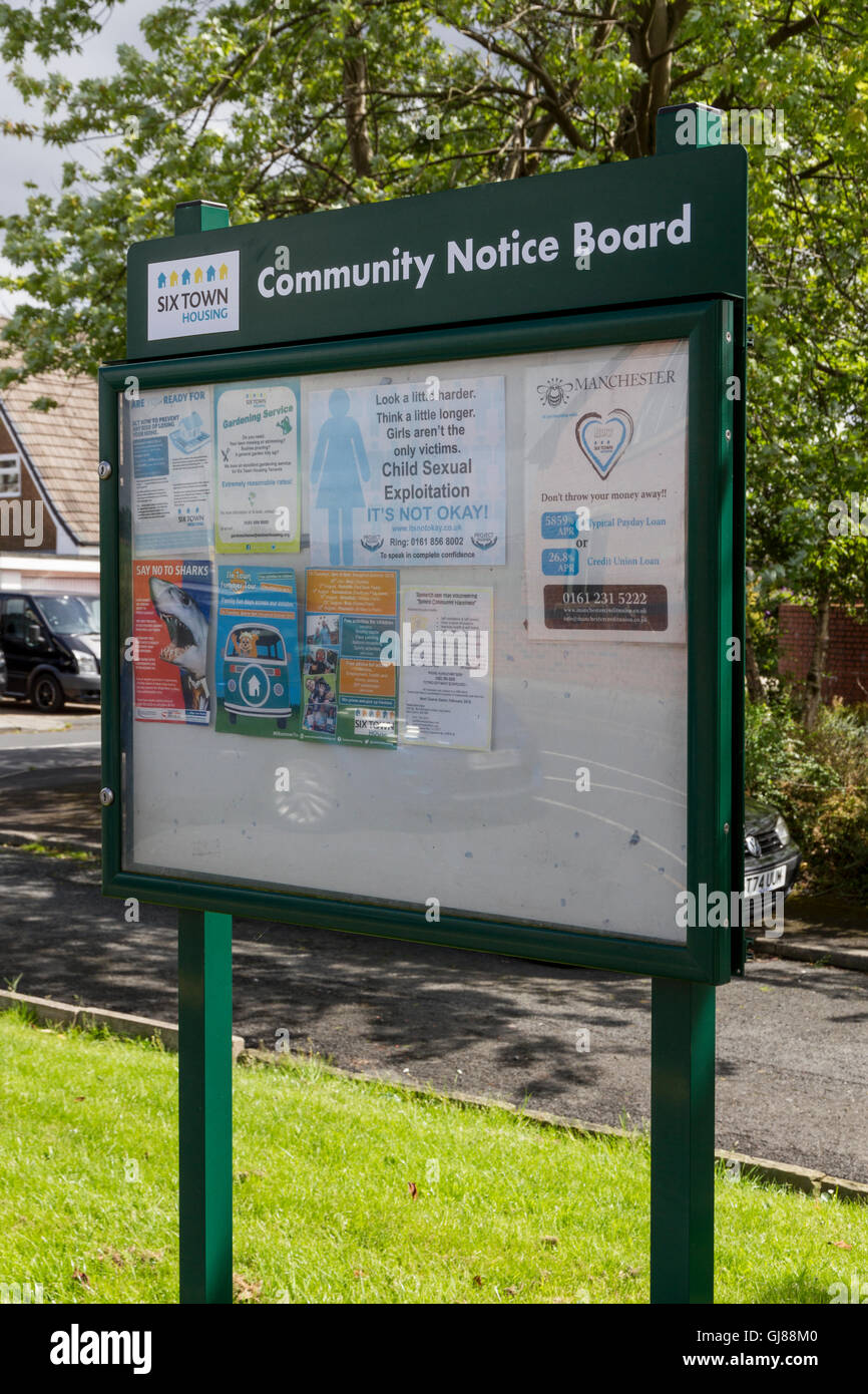 Community Notice Board Sign in Ainsworth Bolton - Stock Image