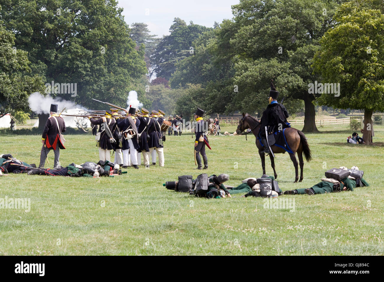 Napoleon's Cavalry at the reenactment for the Battle of Waterloo - Stock Image
