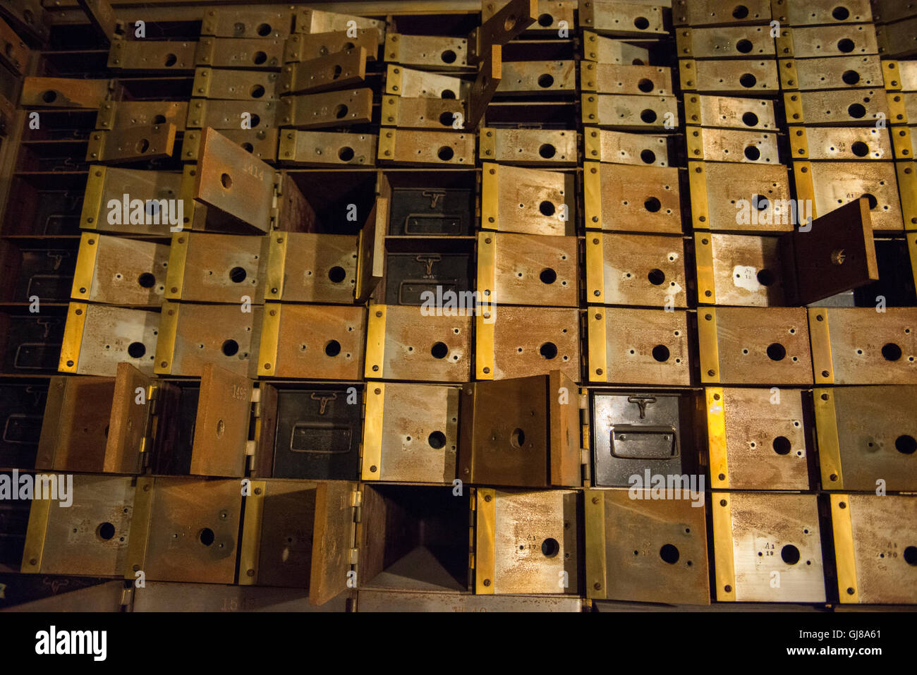Vintage bank empty bank boxes in a former bank vault. - Stock Image