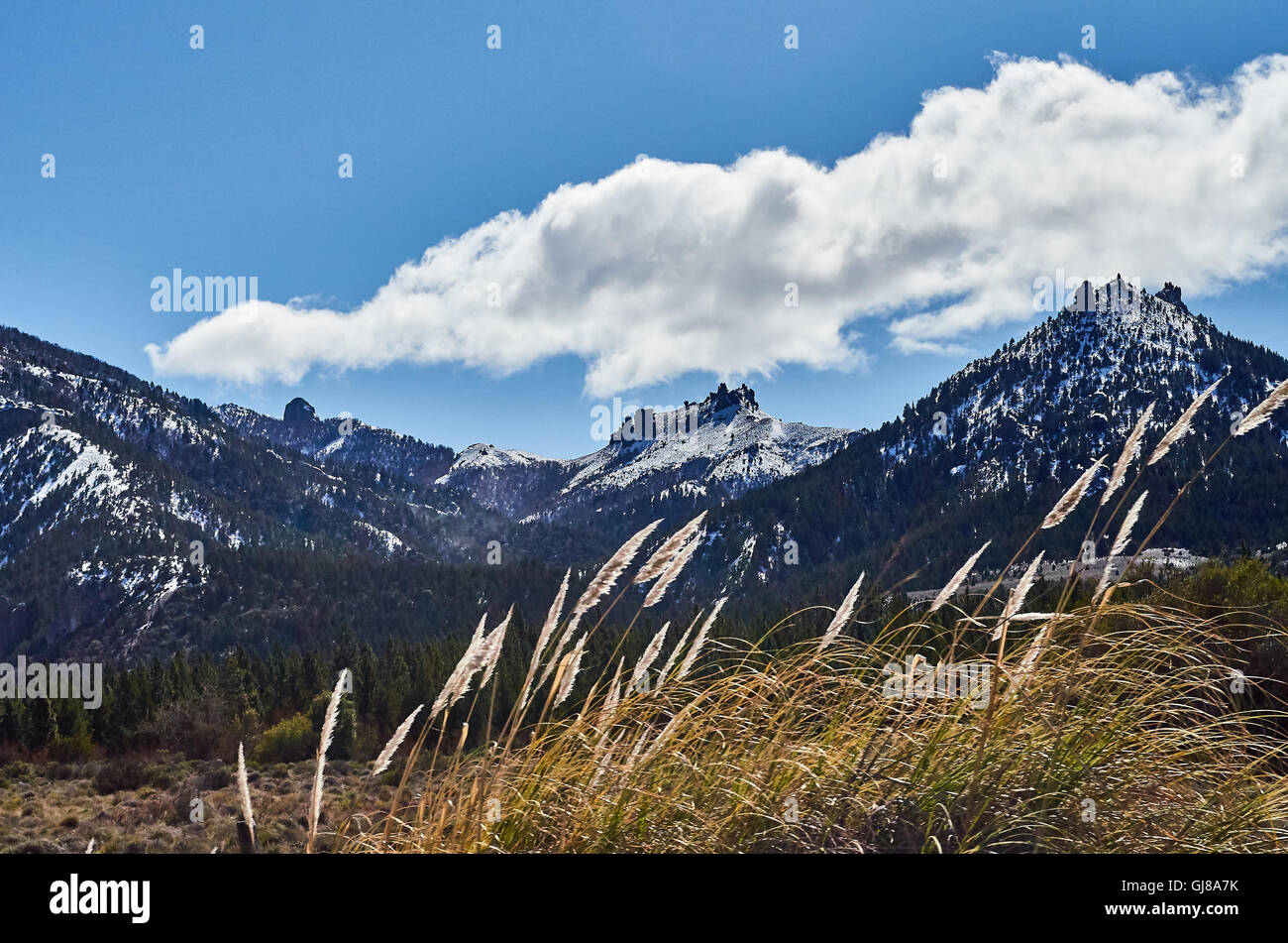 Some huge mountains in the distance with in the Enchanted Valley in San Carlos de Bariloche, Rio Negro, Argentina. - Stock Image