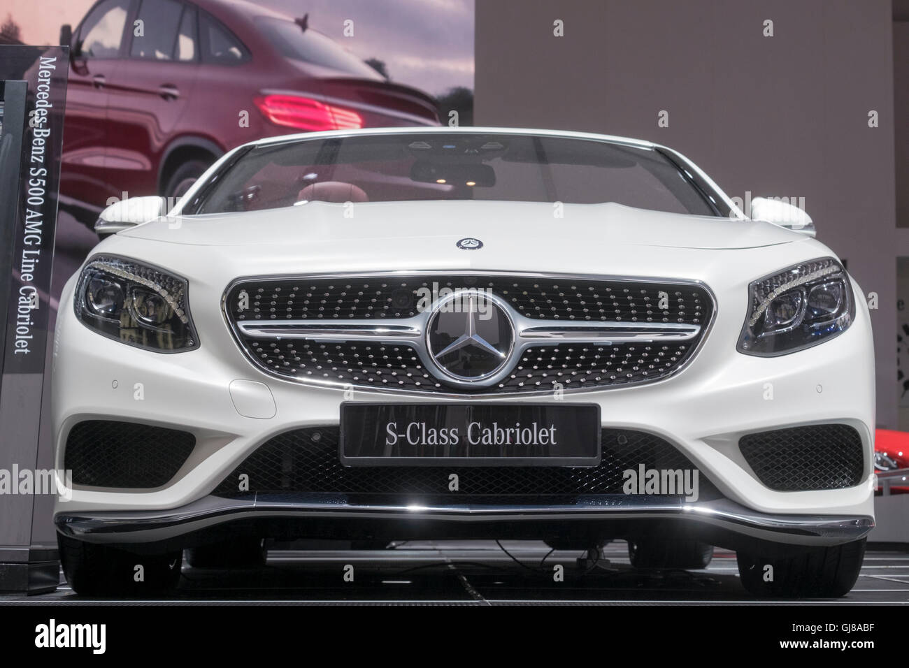White Mercedes s class cabriolet on show stand at moving motor show goodwood festival of speed 2016. - Stock Image
