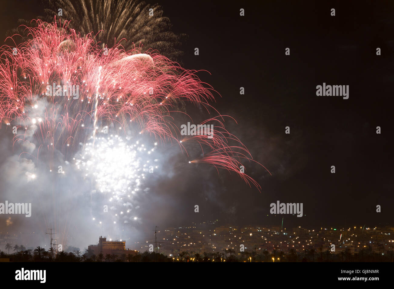 Night of Alborada fireworks for an hour in the city of Elche, Spain - Stock Image