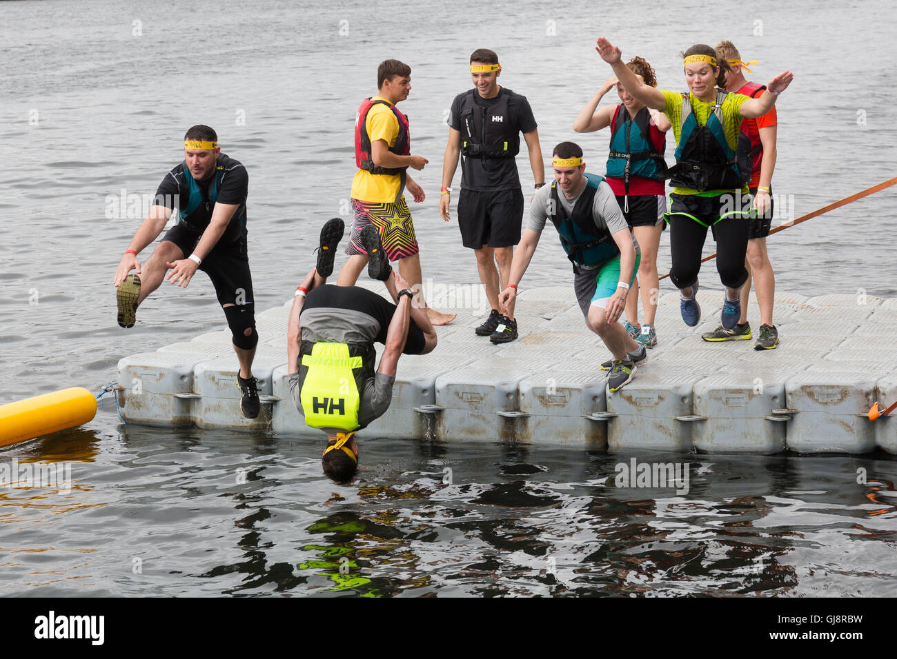 London, UK. 13th Aug, 2016. Contestants take part in the London River Rat Race at the Royal Victoria Docks on the - Stock Image