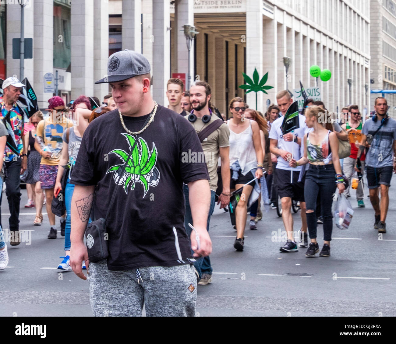 Berlin, Germany, 13th August 2016. The Hanfparade (Hemp parade) takes place annually in August. Demonstrators gathered Stock Photo