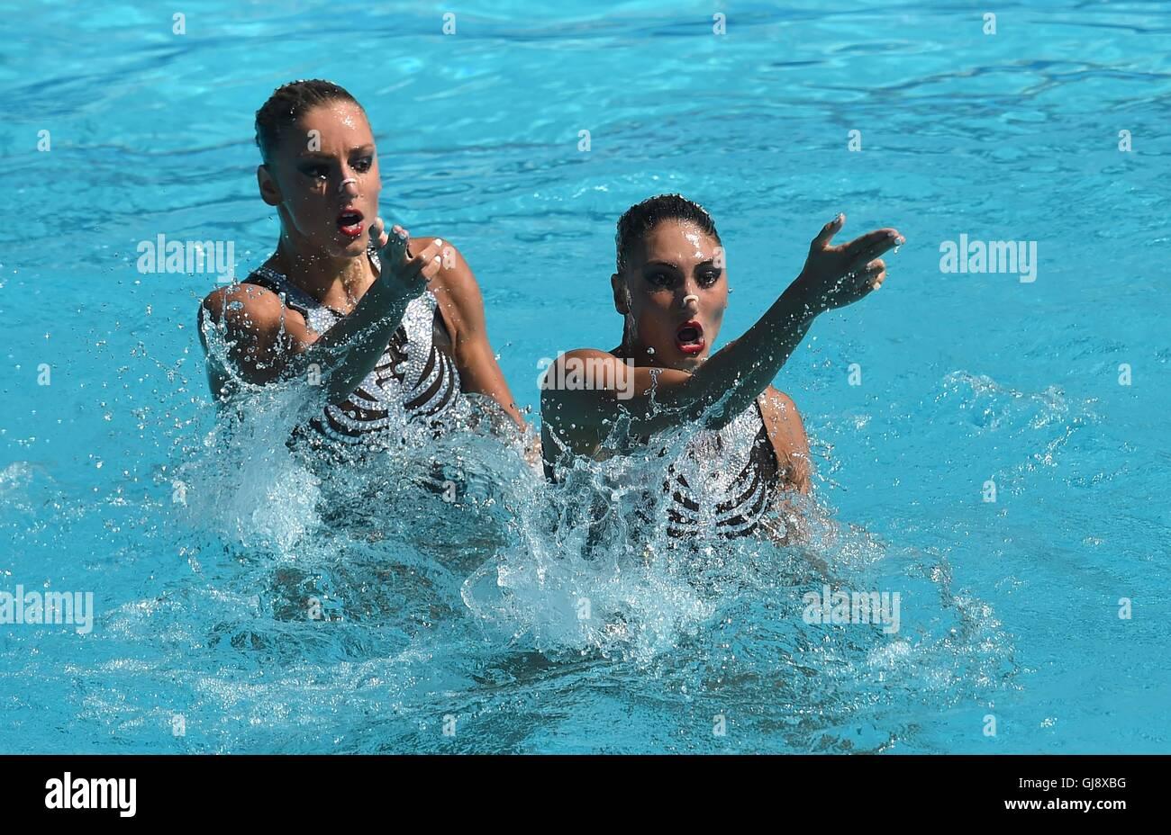 Rio de Janeiro, Brazil. 14th August, 2016. Evagelia Papazoglou (GRE) and Evangelia Platanioti (GRE). Synchronised - Stock Image
