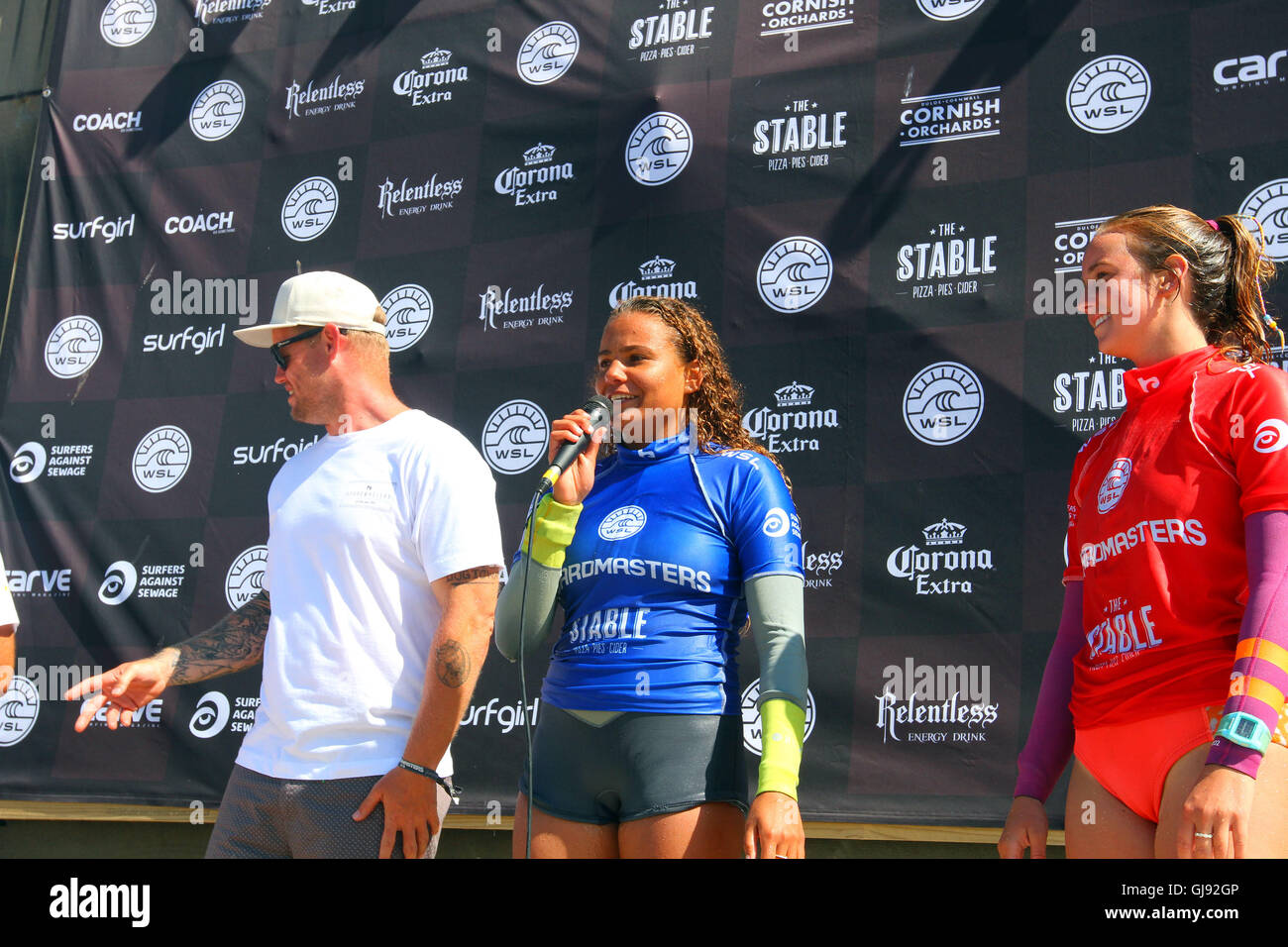 Newquay, UK. 14th Aug, 2016. Board Masters Surfing Competition Sunday. Rachael Tilly USA takes runner up in the Stock Photo