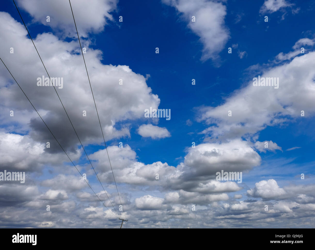 Electricity Pole And Cables Stock Photos & Electricity Pole And