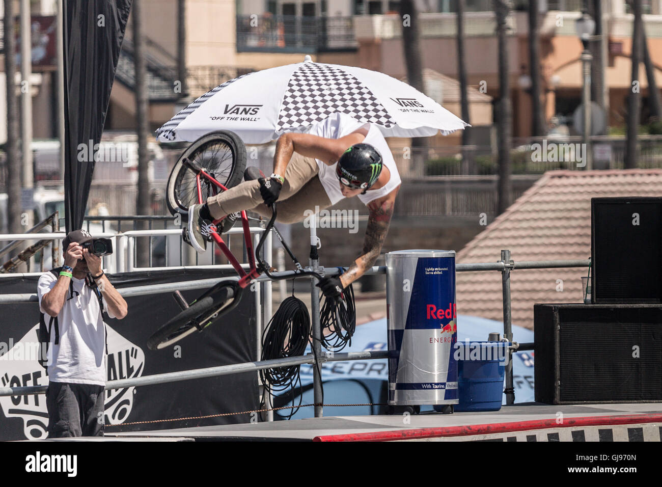 Bicycle stunts at the skatepark at Huntington Beach, California, During the VANS US open competition.July 27 2016 Stock Photo
